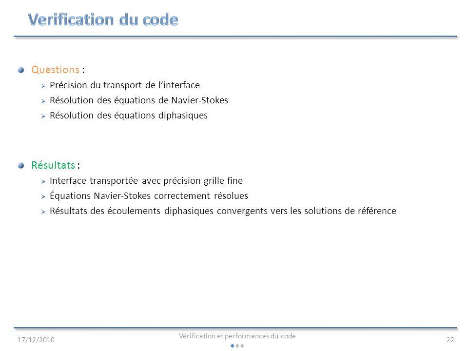 Vérification et performances du code