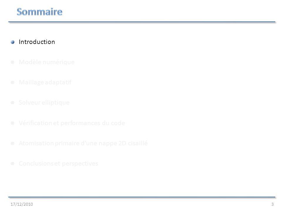 Sommaire Introduction Modèle numérique Maillage adaptatif