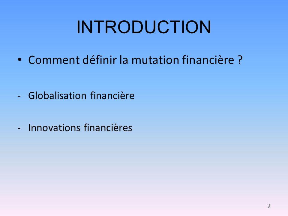 INTRODUCTION Comment définir la mutation financière