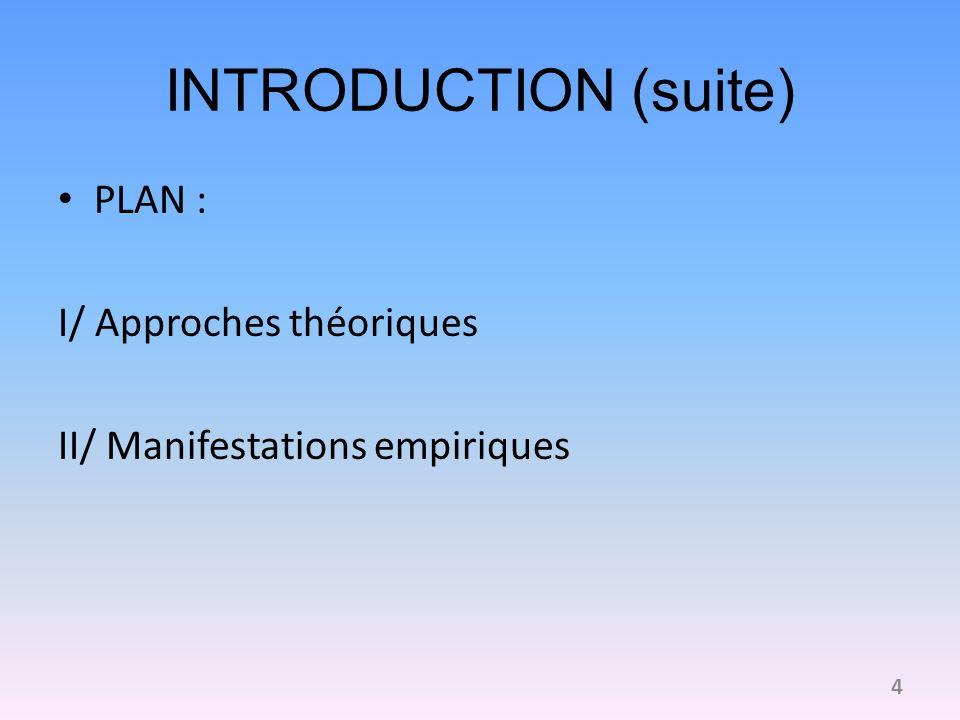 INTRODUCTION (suite) PLAN : I/ Approches théoriques