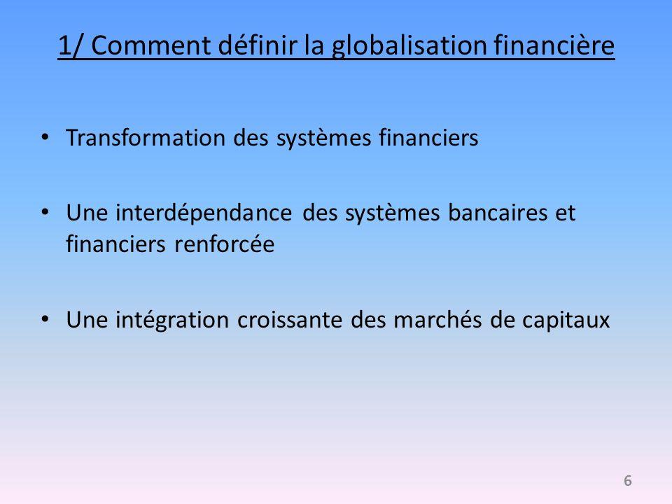 1/ Comment définir la globalisation financière