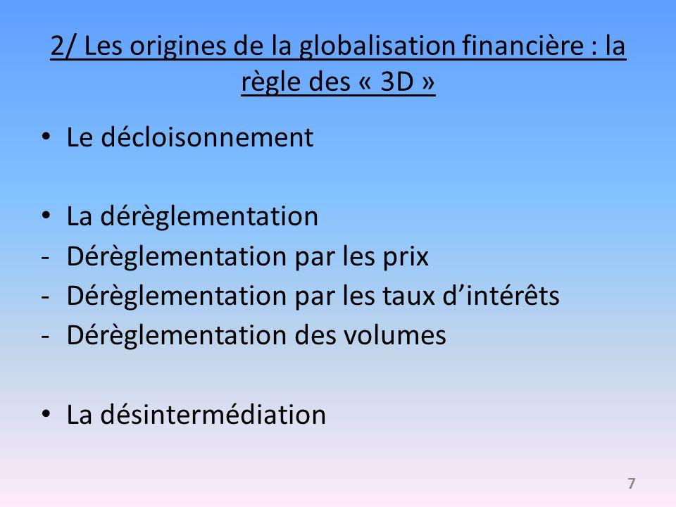 2/ Les origines de la globalisation financière : la règle des « 3D »