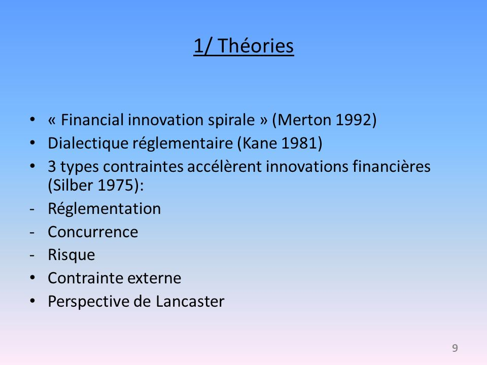 1/ Théories « Financial innovation spirale » (Merton 1992)