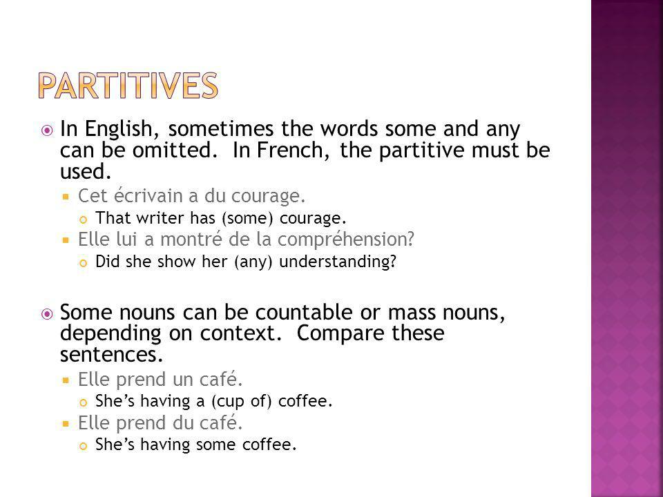 partitives In English, sometimes the words some and any can be omitted. In French, the partitive must be used.