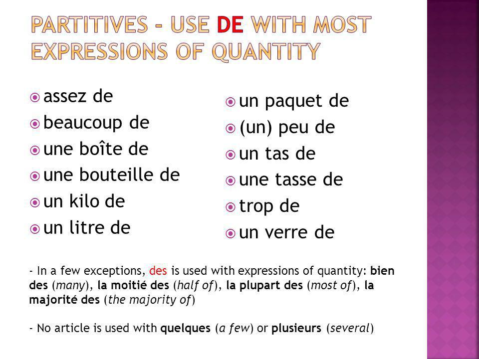 partitives - Use de with most expressions of quantity