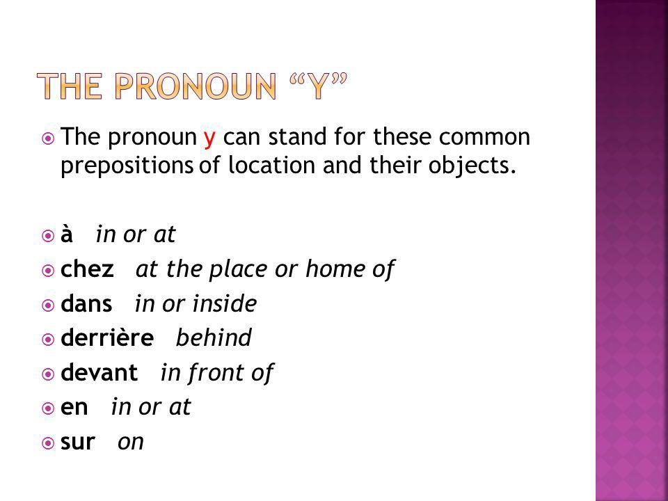 The pronoun y The pronoun y can stand for these common prepositions of location and their objects.
