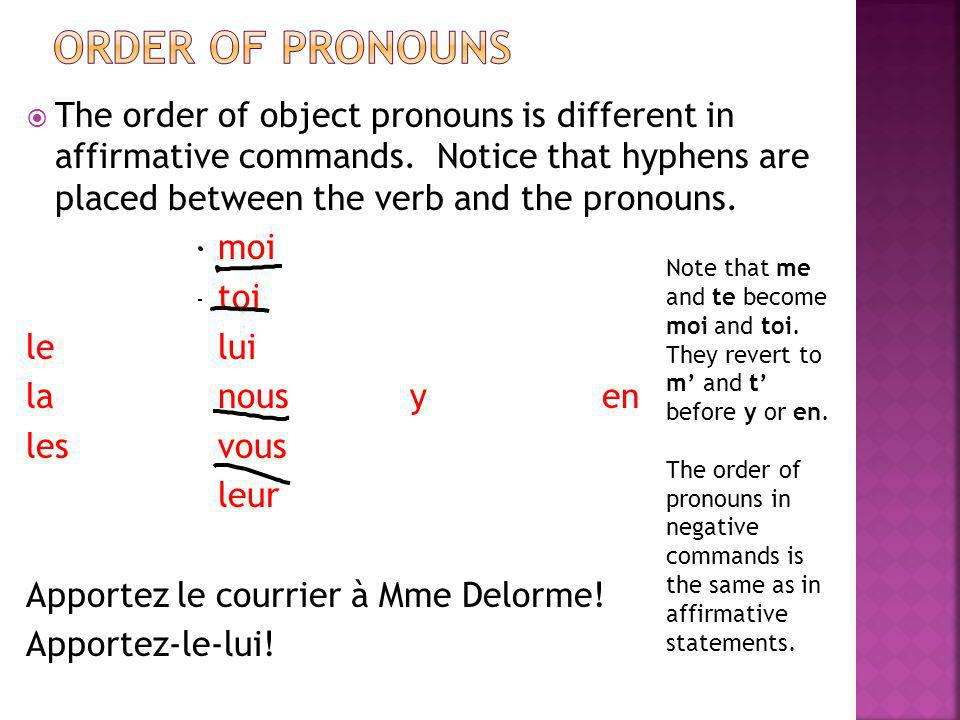order of pronouns