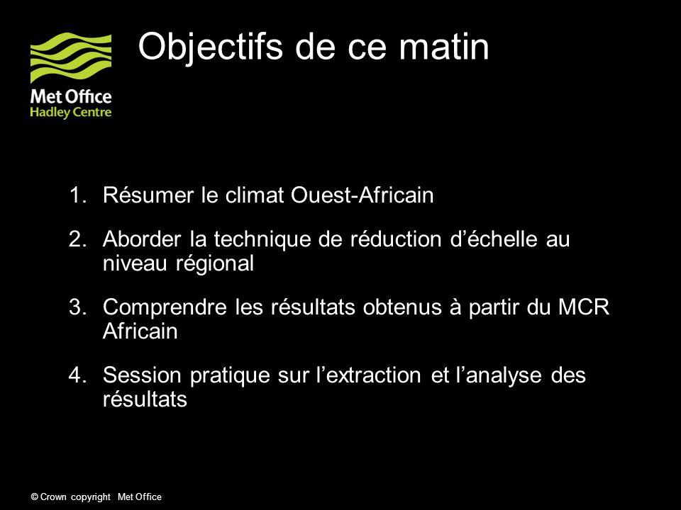 Objectifs de ce matin Résumer le climat Ouest-Africain