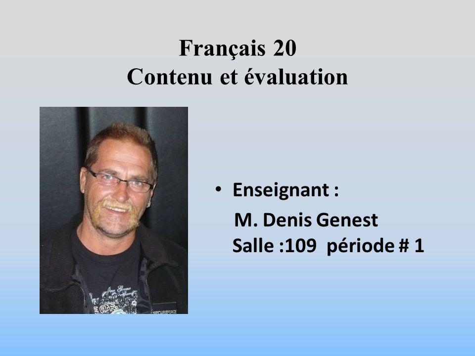 Français 20 Contenu et évaluation