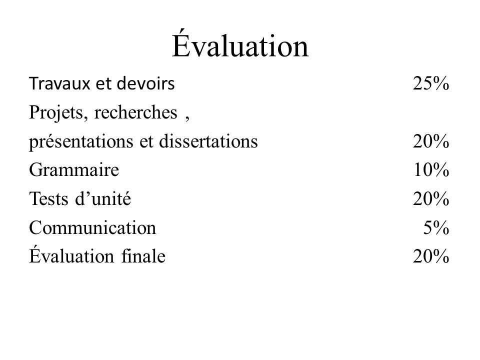 Évaluation Travaux et devoirs 25% Projets, recherches ,