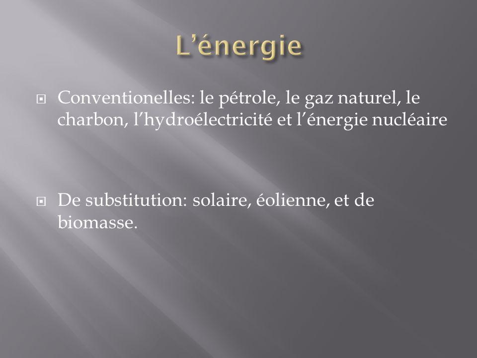 L'énergie Conventionelles: le pétrole, le gaz naturel, le charbon, l'hydroélectricité et l'énergie nucléaire.