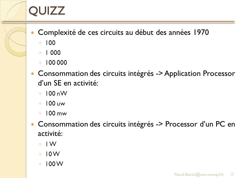 QUIZZ Complexité de ces circuits au début des années 1970