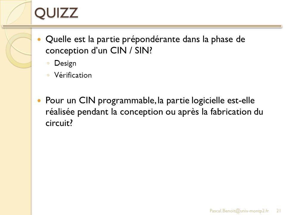 QUIZZ Quelle est la partie prépondérante dans la phase de conception d'un CIN / SIN Design. Vérification.