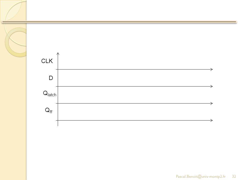 CLK D Qlatch Qff Pascal.Benoit@univ-montp2.fr