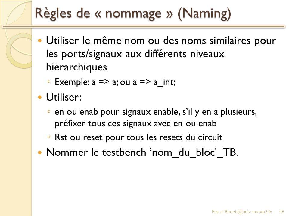 Règles de « nommage » (Naming)