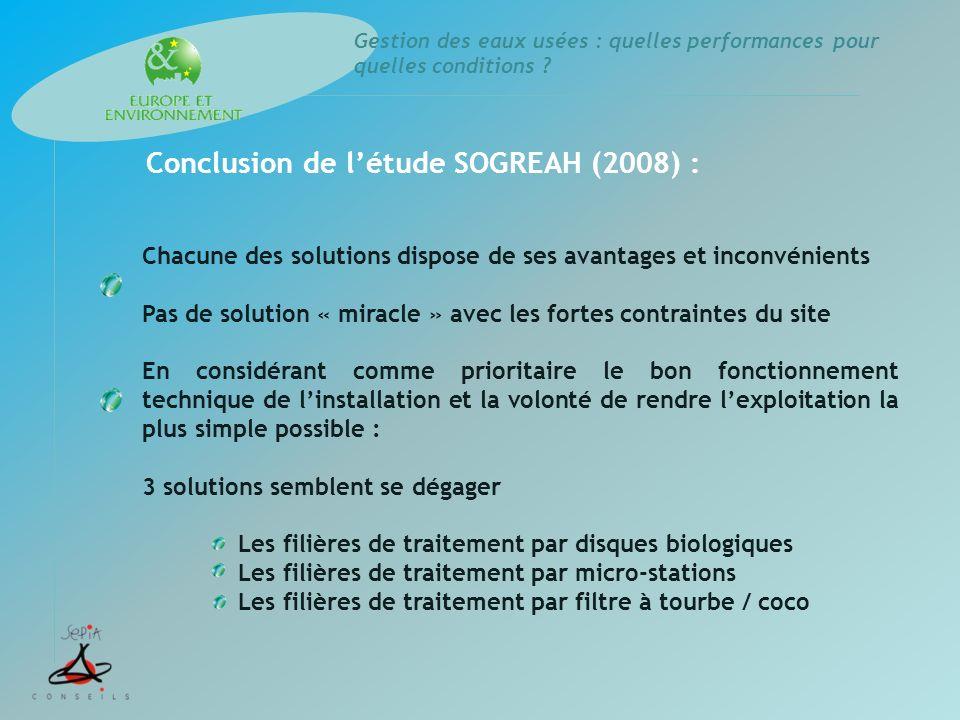 Conclusion de l'étude SOGREAH (2008) :