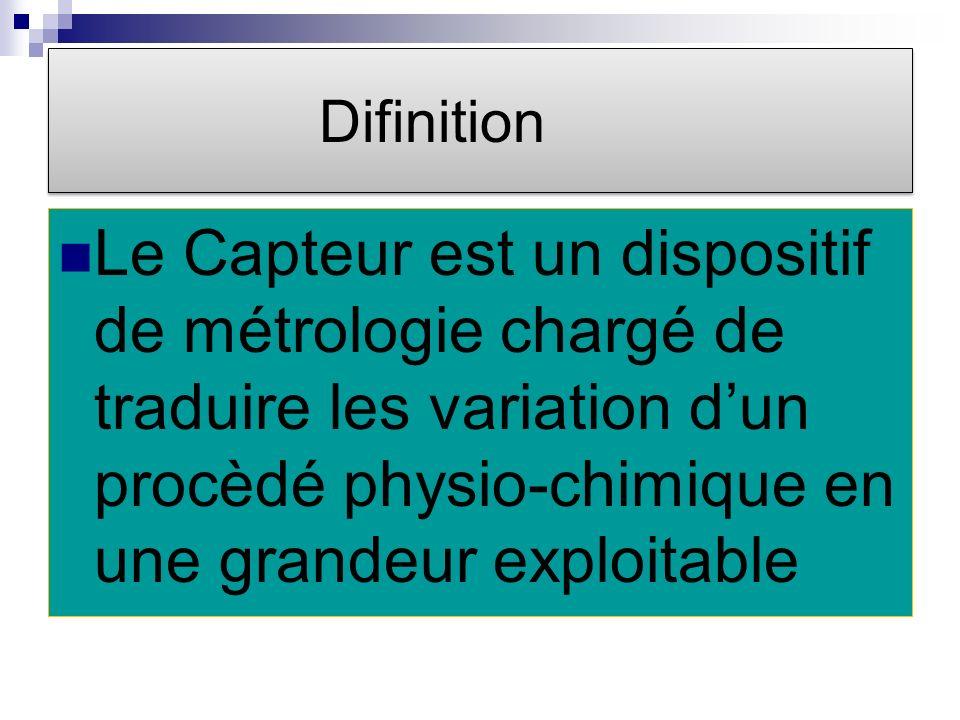 Difinition Le Capteur est un dispositif de métrologie chargé de traduire les variation d'un procèdé physio-chimique en une grandeur exploitable.