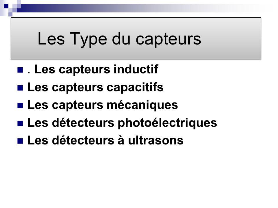 Les Type du capteurs . Les capteurs inductif Les capteurs capacitifs