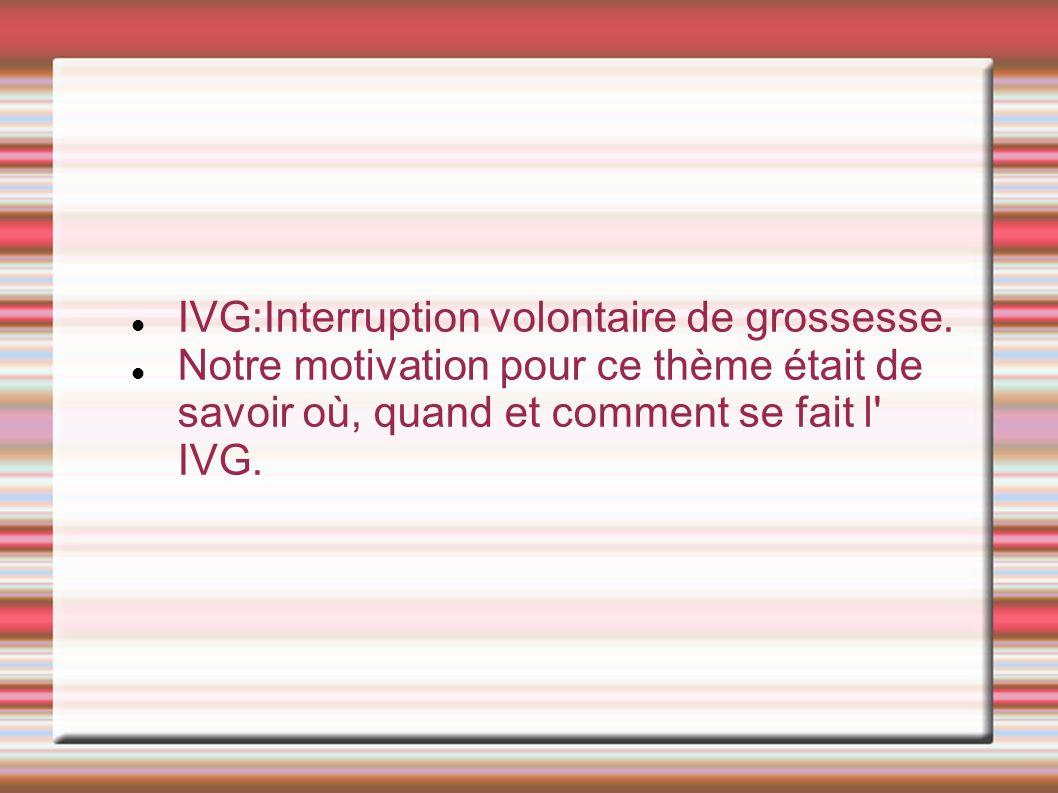 IVG:Interruption volontaire de grossesse.