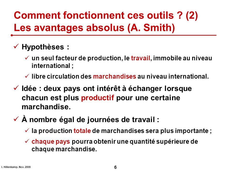 Comment fonctionnent ces outils (2) Les avantages absolus (A. Smith)