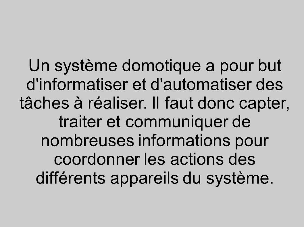 Un système domotique a pour but d informatiser et d automatiser des tâches à réaliser.