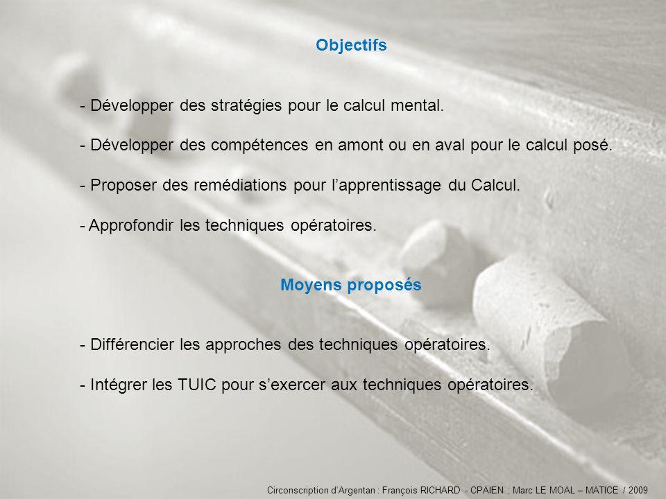 Objectifs Moyens proposés
