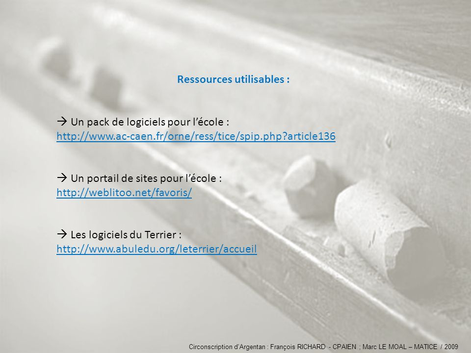 Ressources utilisables :