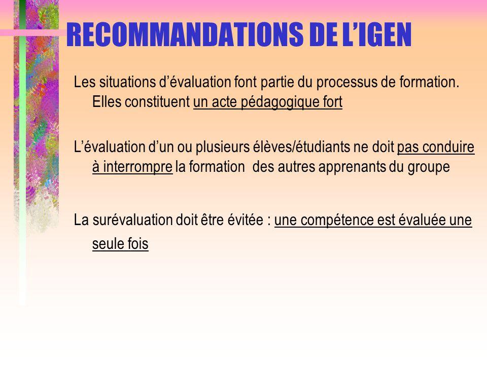 RECOMMANDATIONS DE L'IGEN