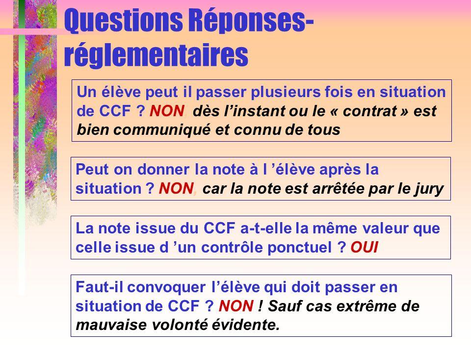 Questions Réponses- réglementaires
