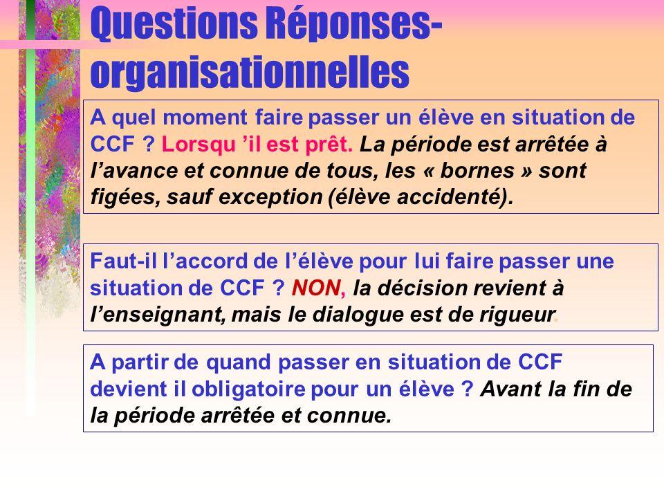 Questions Réponses- organisationnelles