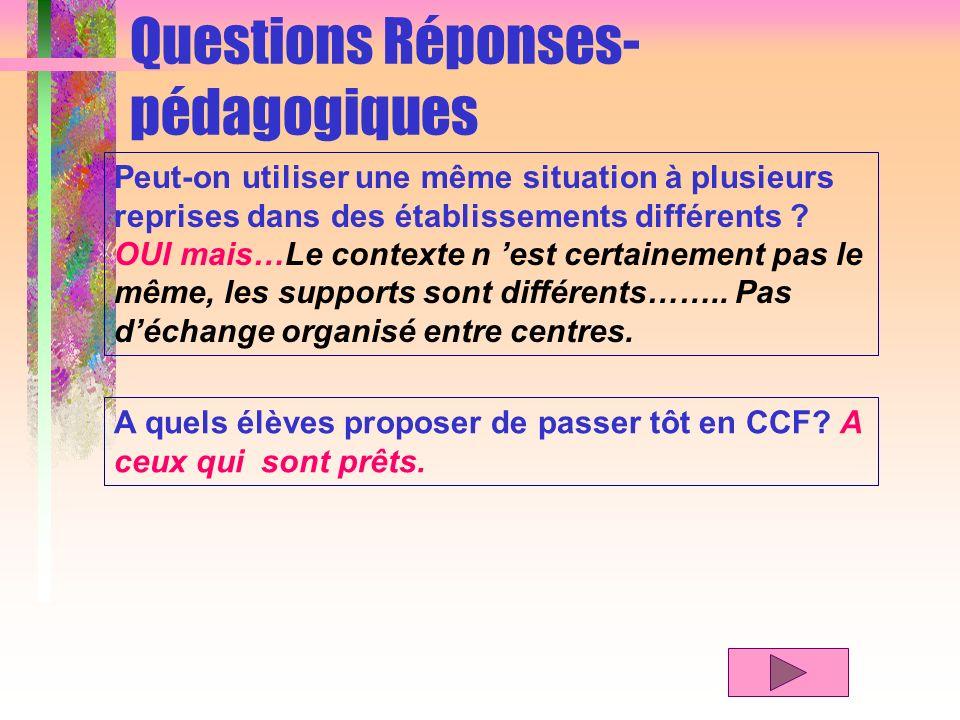 Questions Réponses- pédagogiques