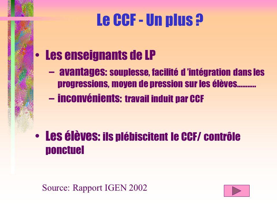 Le CCF - Un plus Les enseignants de LP