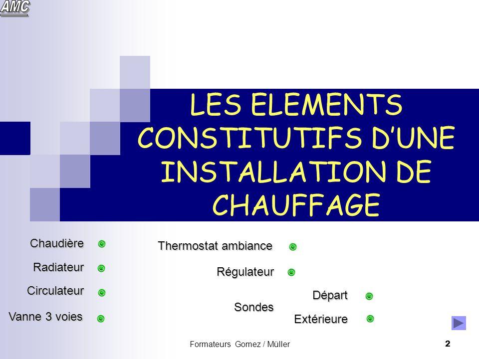 LES ELEMENTS CONSTITUTIFS D'UNE INSTALLATION DE CHAUFFAGE