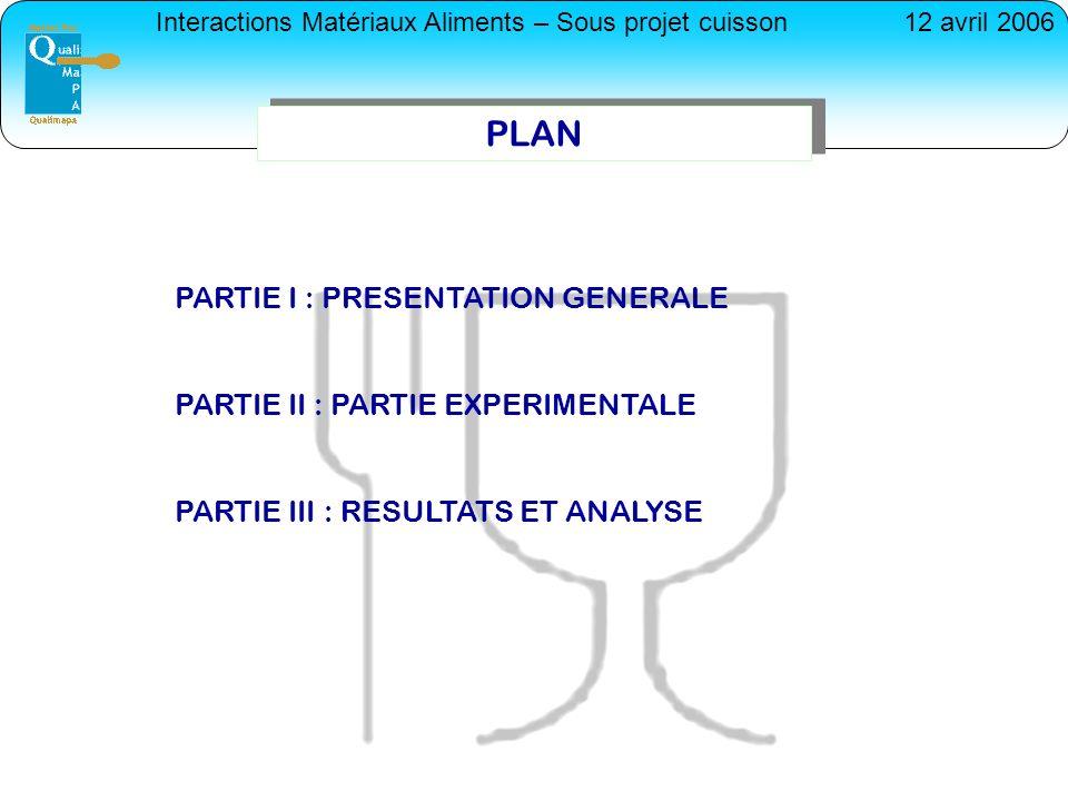 PLAN PARTIE I : PRESENTATION GENERALE PARTIE II : PARTIE EXPERIMENTALE