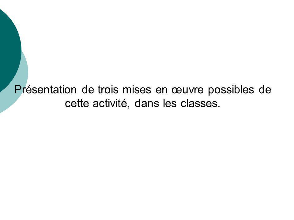 Présentation de trois mises en œuvre possibles de cette activité, dans les classes.
