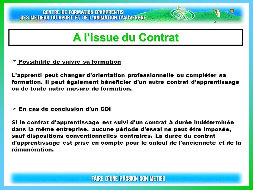 A l'issue du Contrat Possibilité de suivre sa formation