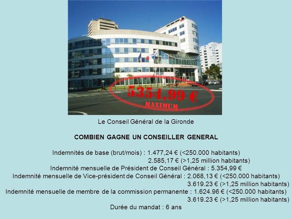 Le Conseil Général de la Gironde COMBIEN GAGNE UN CONSEILLER GENERAL Indemnités de base (brut/mois) : 1.477,24 € (<250.000 habitants) 2.585,17 € (>1,25 million habitants) Indemnité mensuelle de Président de Conseil Général : 5.354,99 € Indemnité mensuelle de Vice-président de Conseil Général : 2.068,13 € (<250.000 habitants) 3.619.23 € (>1,25 million habitants) Indemnité mensuelle de membre de la commission permanente : 1.624.96 € (<250.000 habitants) 3.619.23 € (>1,25 million habitants) Durée du mandat : 6 ans