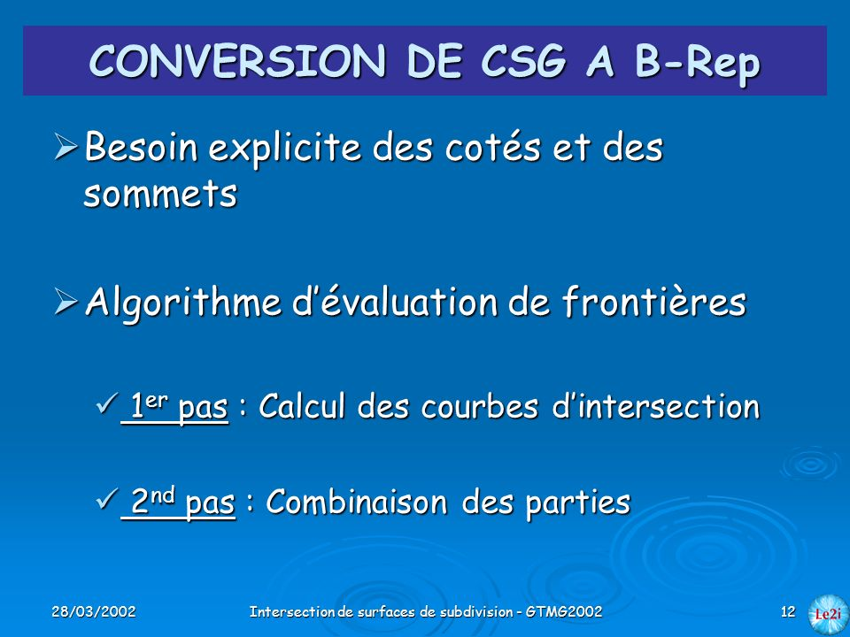 CONVERSION DE CSG A B-Rep