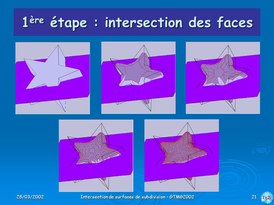 1ère étape : intersection des faces