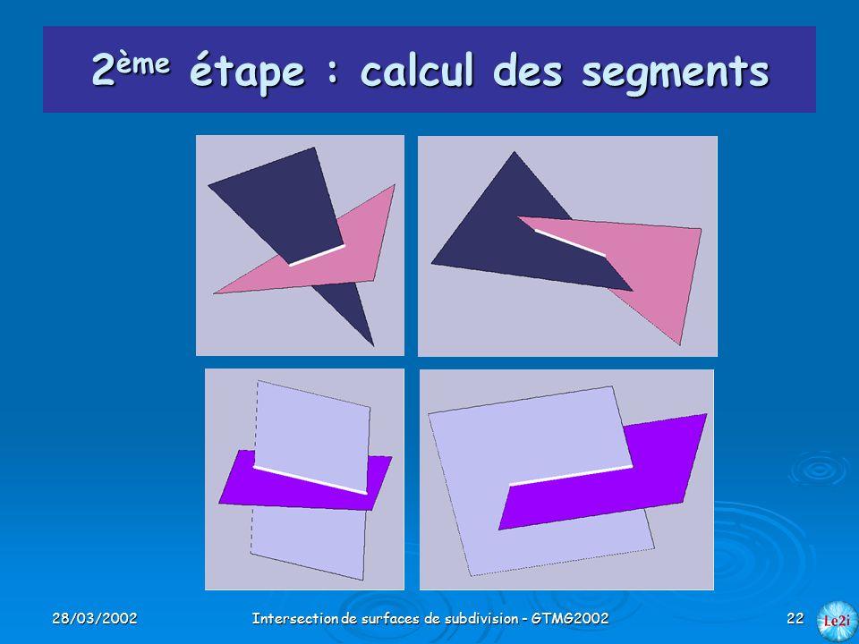 2ème étape : calcul des segments