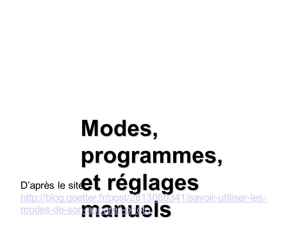 Modes, programmes, et réglages manuels