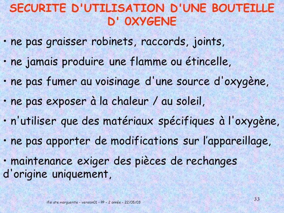 SECURITE D UTILISATION D UNE BOUTEILLE D 0XYGENE