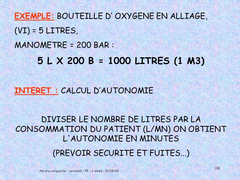 EXEMPLE: BOUTEILLE D' OXYGENE EN ALLIAGE,