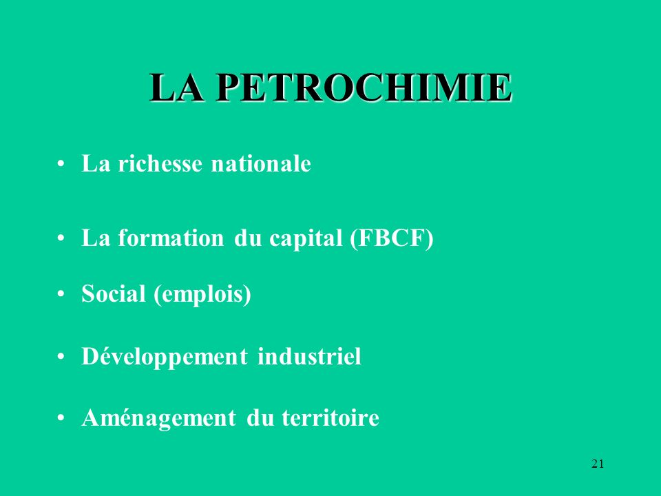 LA PETROCHIMIE La richesse nationale La formation du capital (FBCF)