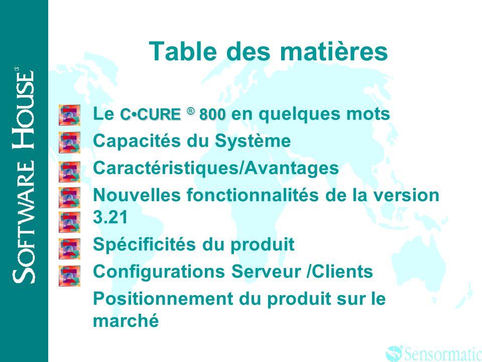 Table des matières Le C•CURE ® 800 en quelques mots