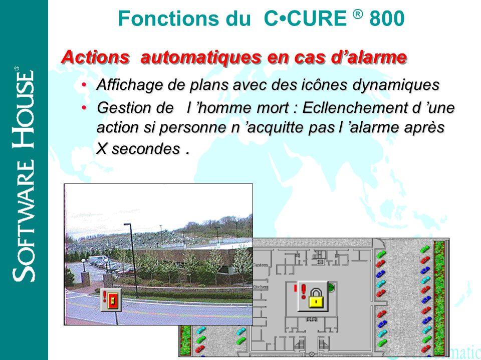 Fonctions du C•CURE ® 800 Actions automatiques en cas d'alarme