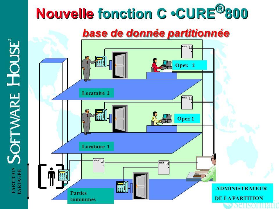 Nouvelle fonction C •CURE®800 base de donnée partitionnée
