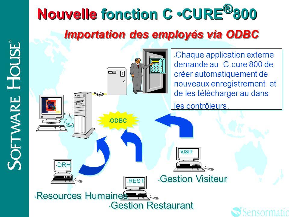 Nouvelle fonction C •CURE®800 Importation des employés via ODBC