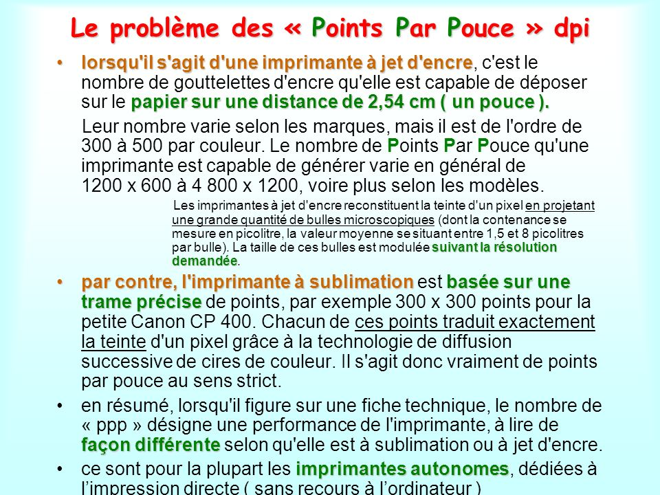 Le problème des « Points Par Pouce » dpi