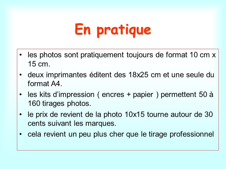 En pratique les photos sont pratiquement toujours de format 10 cm x 15 cm. deux imprimantes éditent des 18x25 cm et une seule du format A4.